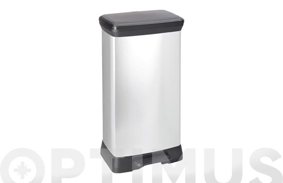 Cubo pedal decorado metal plata 50 l