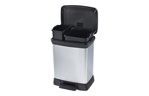 Cubo pedal duo decorado metal plata 10 l+18 l