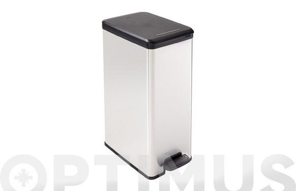 Cubo pedal slim bin metal plata 40 l