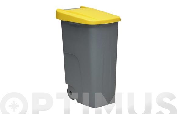 Contenedor basura gris eco 110l tapa azul