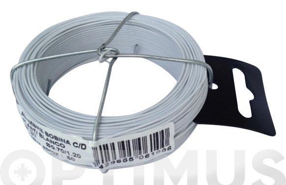 Alambre plastificado en bobina 50 m 0,7/1,2 mm blanco