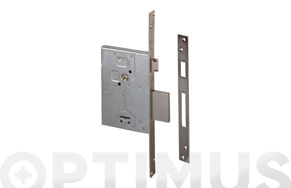 Cerradura seguridad niquelada golpe y llave 60 mm/borjas 4 vueltas
