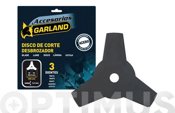 Disco desbrozadora 3 dientes ø 230mm eje 25,4 mm >25cc - hierba resistente y matorrales