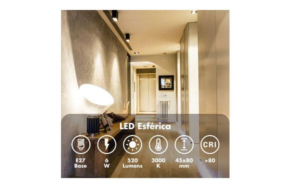 Lampara led esferica mini 550lm 6w e-14 luz calida (3000k)
