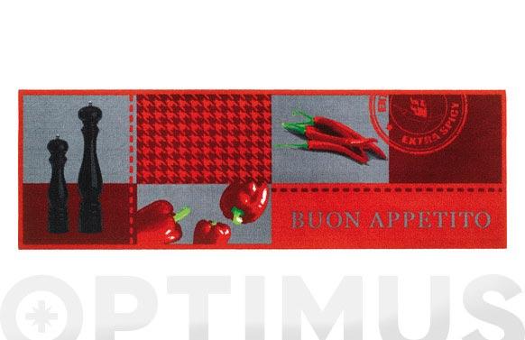 Alfombra cocina poliamida 50x150-buon appetito roja
