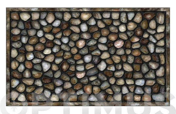 Felpudo goma flockada arte 45x75-pebbles