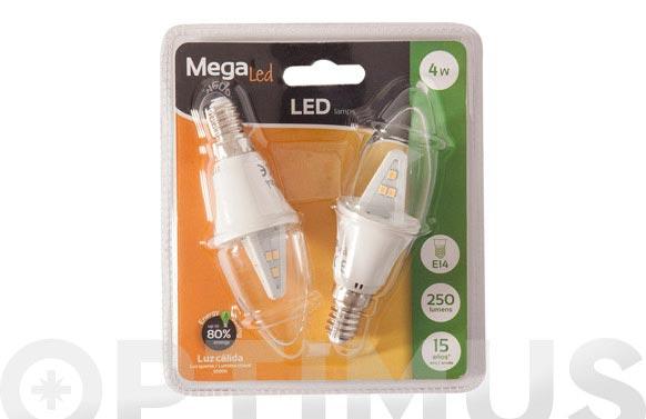 Lampara filamento led vela (2 uni) 4w e14 luz calida (3000k)