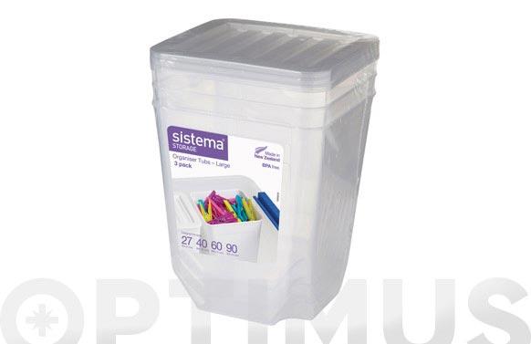 Organizador plastico 1,8 l pack 3u 70018