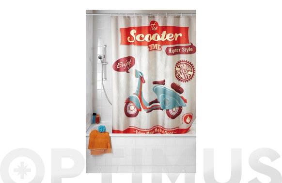 Cortina de baño vintage scooter 2.00 x 1.80 m