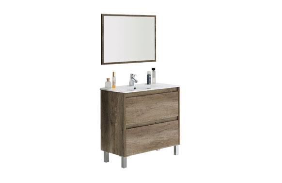 Mueble baño 80 cm + espejo dakota roble 80 x 80 x 45 cm