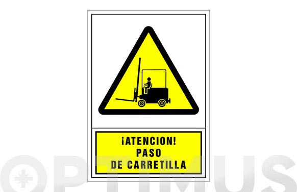 Señal advertencia castellano 345x245 mm-atencion paso de carretilla