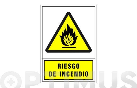 Señal advertencia castellano 345x245 mm-riesgo de incendio