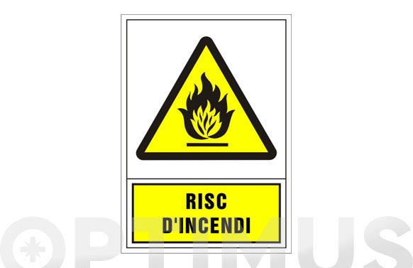 Señal advertencia catalan 345x245 mm-risc d'incendi