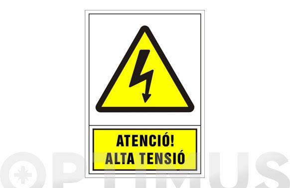 Señal advertencia catalan 490x345 mm-atencio alta tensio