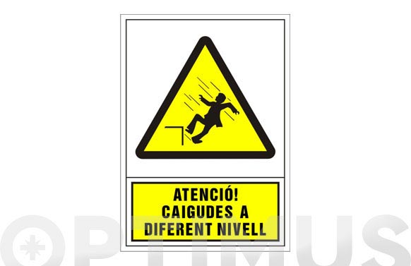 Señal advertencia catalan 490x345 mm-atencio caigudes a diferent nivell