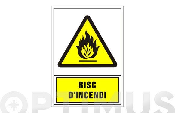 Señal advertencia catalan 490x345 mm-risc d'incendi