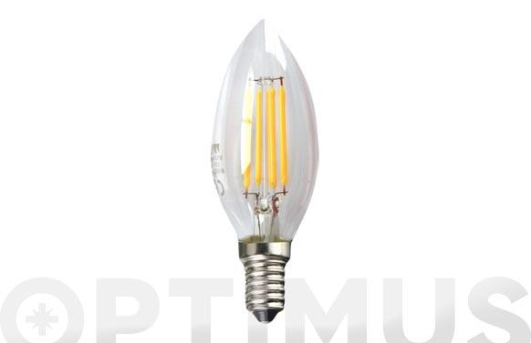 Lampara led filamento vela 390lm 3w e14 luz calida (3000k)