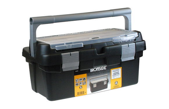Caja herramientas abs negro profesional 400 x 225 x 190 mm asa plastico