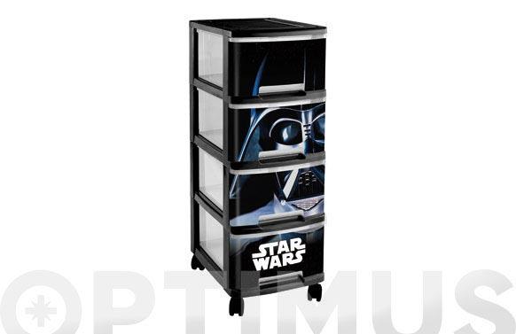 Organizador star wars 4 cajones con ruedas 26x35x68cm 10l