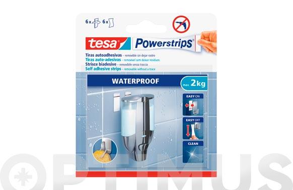 Tira powerstrips waterproof grande blanca blister 6 unidades