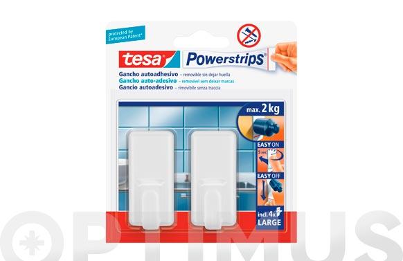 Colgador powerstrips rectangular grande blanco blister 2 + 4 tiras