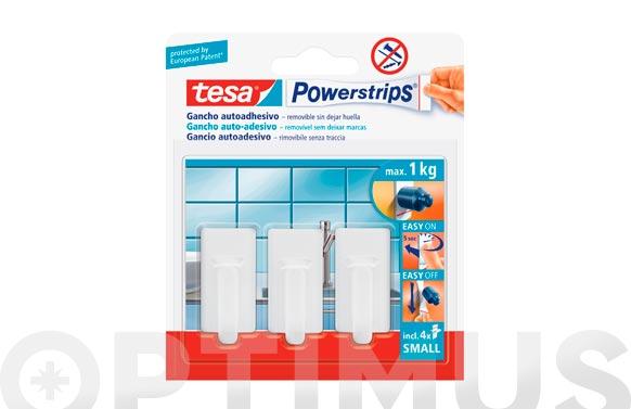 Colgador powerstrips rectangular pequeño blanco blister 3 + 4 tiras