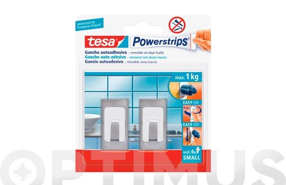 Colgador powerstrips rectangular pequeño blanco/acero blister 2 + 4 tiras