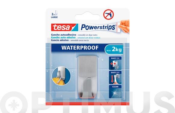 Colgador powerstrips waterproof rectangular grande acero blister 1 + 2 tiras