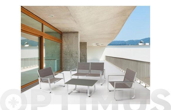 Conjunto cafe aluminio textilene taupe arena