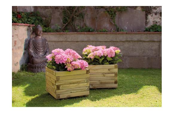 Jardinera madera cuadrada spiro + geotextil 40x40x30 marron oscuro