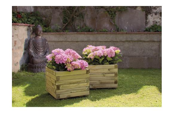Jardinera madera cuadrada spiro + geotextil 50x50x40 marron oscuro