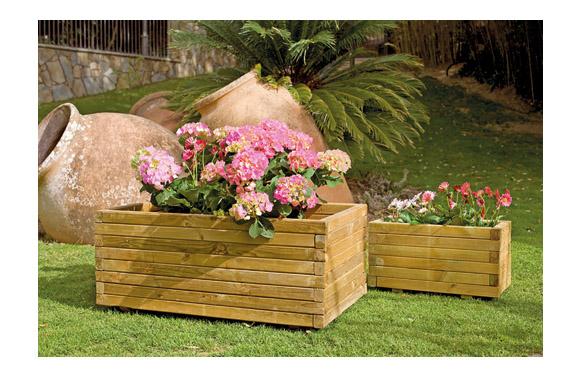 Jardinera madera rectangular gaia + geotextil 80x40x35 marron oscuro