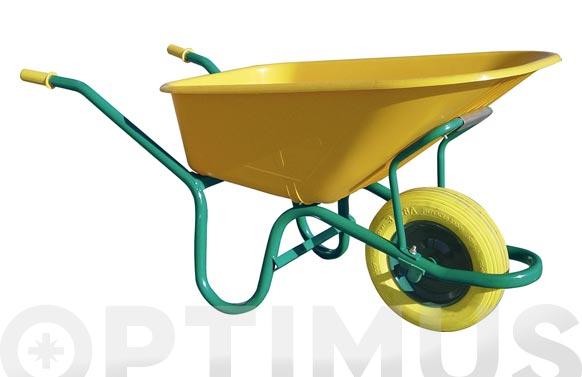 Carretilla nilon amarilla c1/570 100 l rueda impinchable