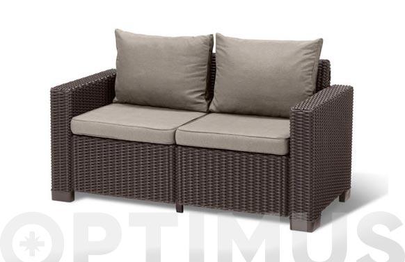 Sofa 2 plazas ratan resina capuchino california