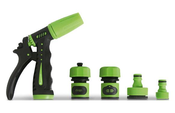 Set riego: lanza y 3 conectores 15mm plastico