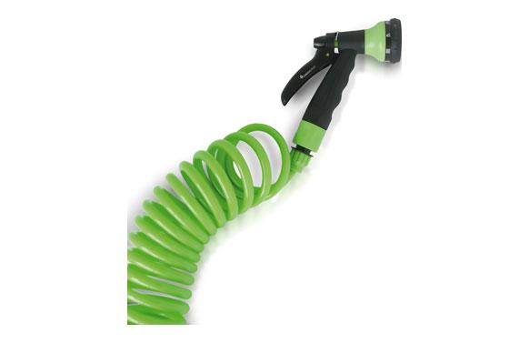 Manguera espiral flexible con pistola 8 jets 15 mt ø 9,5 mm
