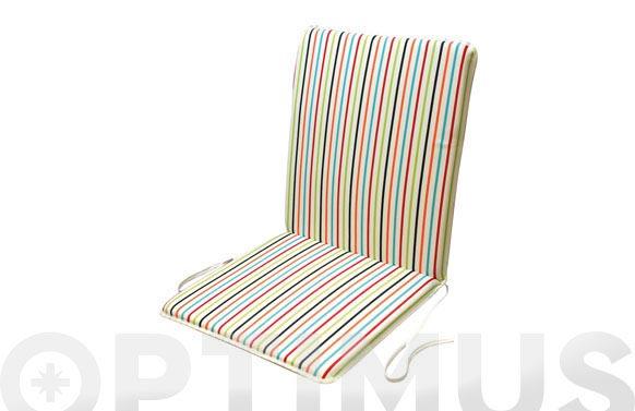 Cojin silla + respaldo dralon (set 2 uds) rayas/blanco