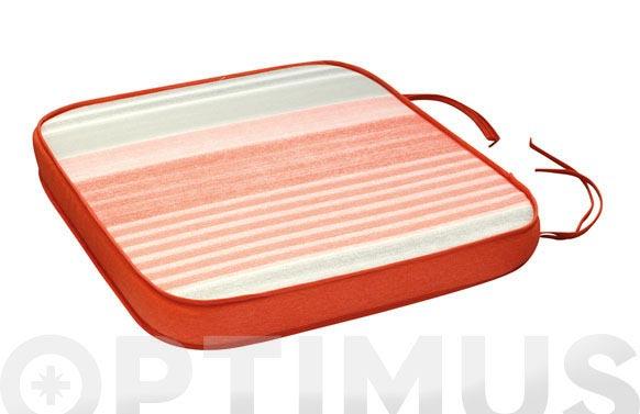 Cojin asiento algodon(set 2u) rayas/coral