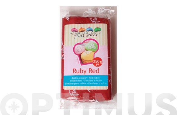 Fondant color 250 gr rojo rubi