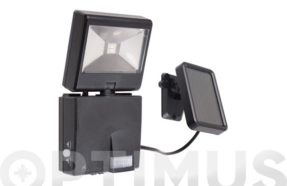 Kit solar + proyector led c/detector movimiento. negro