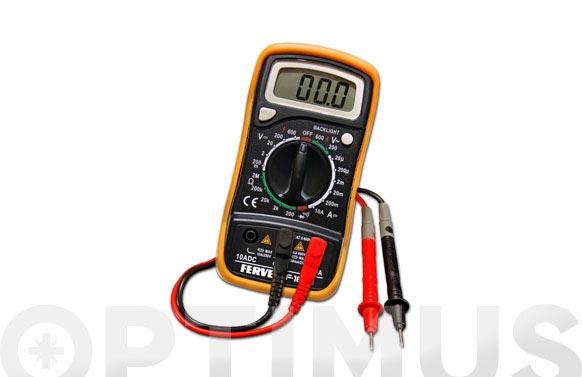 Multimetro digital de 3 ½ digitos, rango: 0 a 600 para amperios, voltios, ohmios