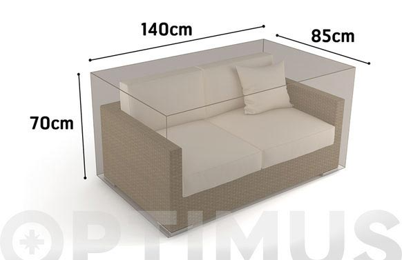 Funda sofa 2 plazas vison 140 x 85 x h 70