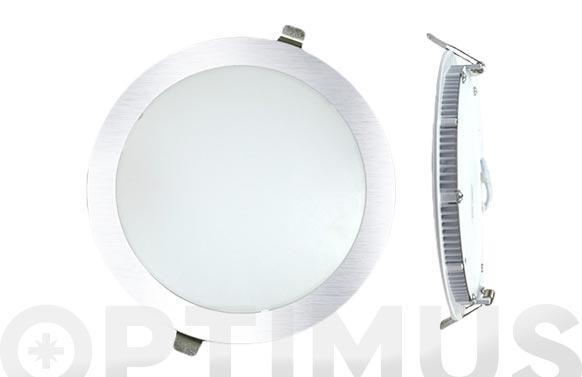 Downlight plano redondo led 18 w plata 1600lm luz blanca (4000k)