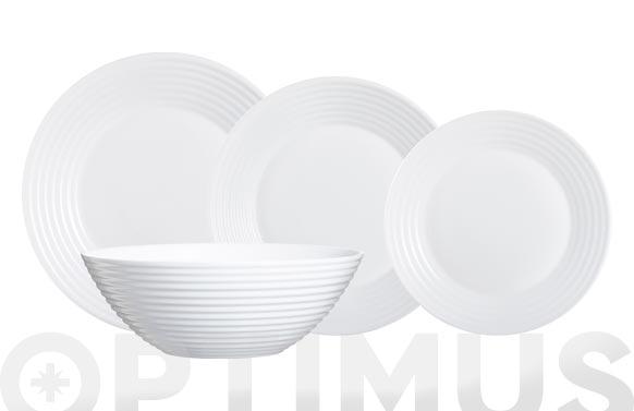Vajilla vidrio opal 19 piezas blanco relieve