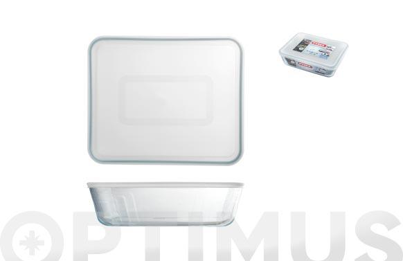Contenedor portalimentos vidrio pyrex rectangular - 0,8 l