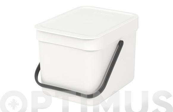 Cubo reciclaje sort & go' blanco 6 l