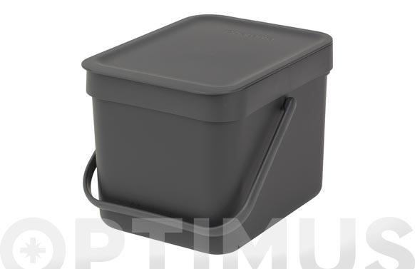 Cubo reciclaje sort & go' gris 6 l