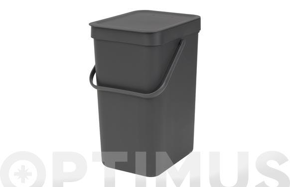 Cubo reciclaje sort & go' gris 12 l