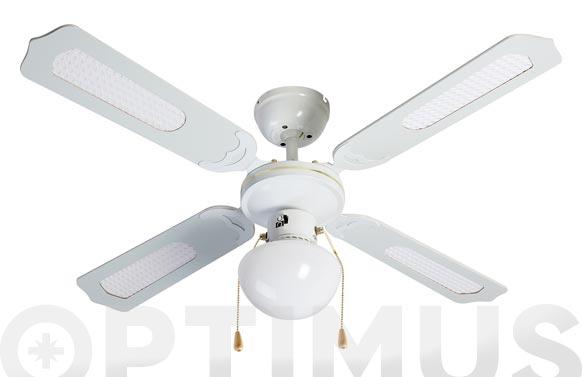 Ventilador techo ø105cm blanco classic con luz 4palas reversibles