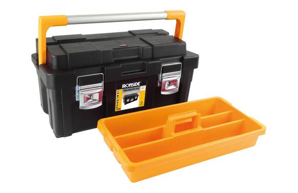 Caja herramientas abs negro profesional plus 1 bandeja 550 x 300 x 275 mm asa aluminio